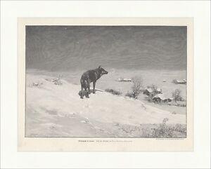 Winternacht in Littauen Wierusz-Kowalski Wolf Schnee Dorf Holzstich E 17796