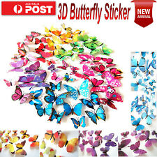 24pcs 3D BUTTERFLY Wall Stickers Removable Decals Kids Nursery Wedding Decor AU