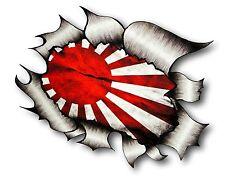 Ripped Torn Metal Look Design Japanese Rising Sun JDM Style Flag car sticker