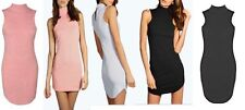Ladies Womens Lucy Textured High Neck Curved Hem Bodycon Dress