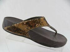 FIT FLOP Brown/Gold Sz 9 Women Lulu Sequence Flip FLop Sandals