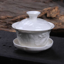 Relief Dragon White Porcelain Gaiwan 100ml Chinese Ceremony Gaiwan Tea Tureen