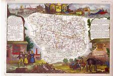CARTE GÉOGRAPHIQUE-LEVASSEUR-AQUARELLÉE MAIN-MORBIHAN-VANNES-ATLANTIQUE-1880