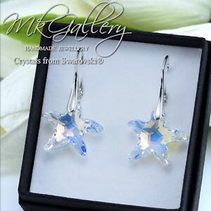 STARFISH 16MM CRYSTALS FROM SWAROVSKI® 925 STERLING SILVER EARRINGS CRYSTAL AB