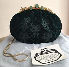 Pre-Loved Judith Leiber Hunter Green Embroidered Velvet Handbag!