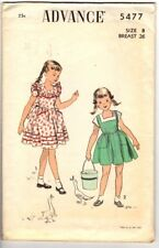 Vintage 1950s Advance Sewing Pattern Girl's DRESS 5477 Size 8 Breast 26 FC