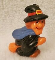"""Vintage 3.5"""" Multi Color Halloween Which On A Broom Candle"""