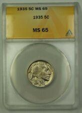 1935 US Buffalo Nickel 5c Coin ANACS MS-65 Gem