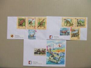 Three DINOSAUR dual stamps US-Laos set and SS