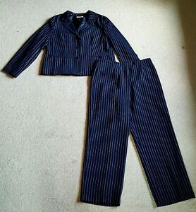 Womens Pant Suit-PENDLETON-navy blue/white pinstriped lined long sleeve-16