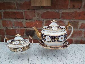 Early 19th Spode cobalt blue & gold pattern 893 tea set *Teapot A./F*