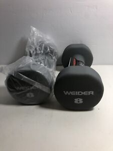 Weider 8LB Grey Dumbbell Weights Pair Set Of 2 - 16lb Total - Fast Shipping