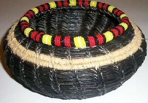 Beaded Round Coushatta Handcrafted Seed Bead Black Pine Needle Basket