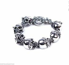 """New Men's Stainless Steel Skull Bracelet Chain Rugged Biker Wide Link 9"""""""