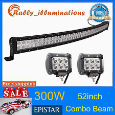 52INCH 300W SUV LED Curved Light Bar Combo Lamp+2pcs 4''18W Light CREE 4WD RALLY