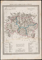 1839 - Landkarte Geografische Alte De L'Allier. Verwaltungsbezirk France. Gravur