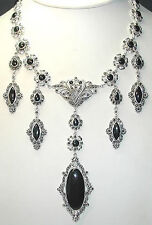 Statement Marcasite & Onyx Necklace Sterling Silver Wedding Mother of Bride