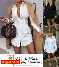 Womens Collared Button Up Long Sleeve Mini Ladies Shirt Top Plain Longline Dress