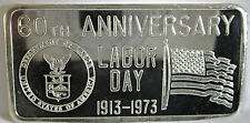 .999 FINE SILVER GREAT LAKES MINT GLM 1973 60TH LABOR DAY 1 TROY OZ ART BAR