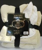 Hotel Collection Quilted Velvet Sherpa Throw Beige 50 x 60 Reversible