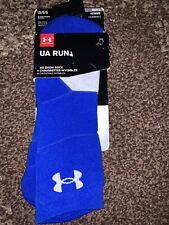 Nwt Under Armour Mens UA Run Sock No Show Tab Blue HeatGear sock Lg 9-12.5