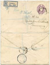 GB STATIONERY STO 6d EMBOSSED KE7 1906 REGISTERED to GERMANY