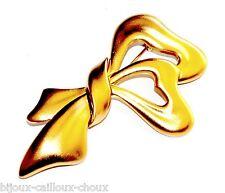 MONET Grosse broche couleur or motif noeud bijou brooch A3