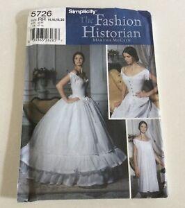 Simplicity 5726 Misses Corset Chemise Petticoat Size RR 14-20 FACTORY FOLDED