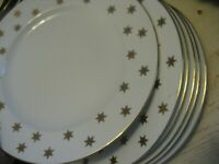 """Vtg GOLD STAR AA AMERICAN ATELIER Dinner Plates 10.5"""" Party Time Fine China Xmas"""