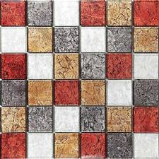 1 SQ M Autumn Hong Kong Foil Mix Glass Mosaic Wall Tiles Bathroom Basin MT0072
