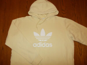 ADIDAS PALE YELLOW HOODED SWEATSHIRT MENS XL EXCELLENT CONDITION