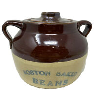 Vintage Ceramic Boston Baked Beans Pot Blue Print Old Advertising Pottery