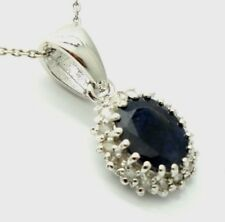 Pendant Sapphire Diamonds 925 Sterling Silver Rhodium Plated