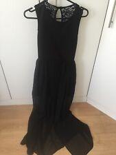 Atmosphere Black Short Front Long Lace Back Chiffon Dress UK8 Worn Once