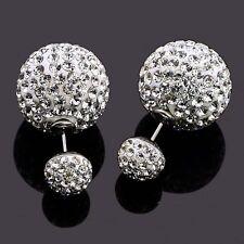 CZ Gem Rhinestones Double Ball Ear Studs Earrings Bar Helix Piercing
