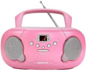 Original Boombox Portable CD/Radio Player, Pink - GROOV-E