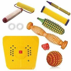 Spancare Wooden Foot Roller Acupressure Magnetic Stress Mat Combo Kit