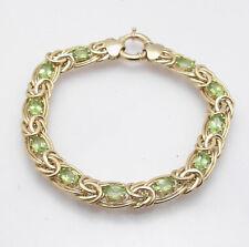 "7"" Natural Green Peridot Gemstone Byzantine Bracelet Real 14K Yellow Gold"