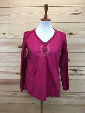 Bit & Bridle Womens Shirt Small Pink Cream Embroidery Peasant LS Blouse Top B24