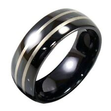 Black Tungsten Domed Ring Laser Engraved Lines Comfort Fit Size 7.5 Wedding Band