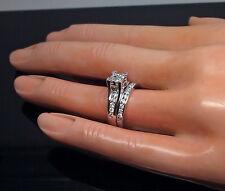 1.00 CT Real Diamond, 10 k White Gold Ladies Ring Band #Princess cut,Wedding N