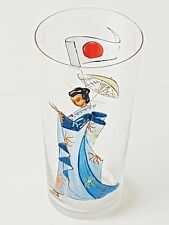 VERRE CRISTAL 1950 VINTAGE DECOR MAIN JAPON JAPAN GEISHA HAND PAINTED GLASS
