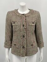 Talbots Womens Tweed Blazer Jacket 6 Button Front Long Sleeve Lined Cotton