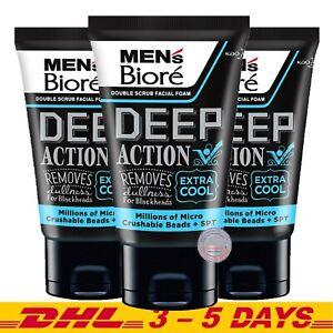 Biore Mens Facial Foam Deep Clean Extra Cool 100g x 3