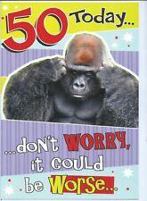 Funny 50th birthday card with a gorilla design ~ quality card  J11