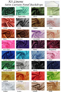 Set Of 2 Satin Curtain Panel Backdrops With Rod Pockets Multiple colors