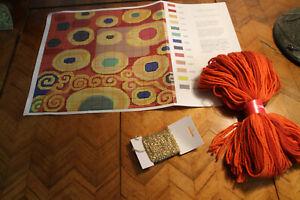 """Kaffe Fassett, """" Klimt Saffron"""" Chart only, teilweise Wolle und Goldfaden"""