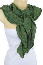 Women Green Soft Fabric Fashion Scarf Long Necklace Neck Tie Gold Sparkling Sexy