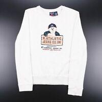 Vintage Grey Big Logo Embroidered Long Sleeve Cotton Sweatshirt Size Mens Small