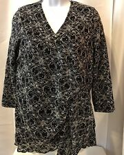 797b39f3812 Dress Barn Sequin Floral V Neck Wrap Blouse Women's Size XL Top Black White  New